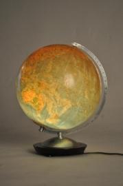 Antieke wereldbollen / Aardglobe glas met verlichting ca. 1930 (No98519)