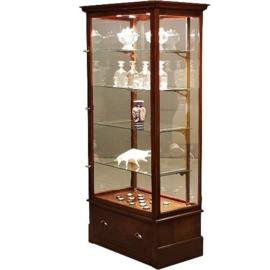 Antieke kasten / Engelse winkelvitrine  met lade ca. 1910 in mahonie met verlichting (No.552811)