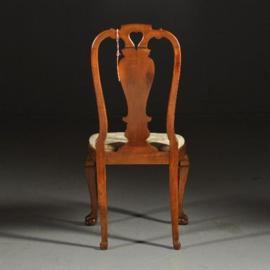 Antieke stoelen / Stel van 4 comfortabele Chippendale stijl stoelen ca. 1910 in lindegroen velours (No.440313)