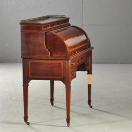 Antieke bureaus / Mahonie trommebureau met wegdraaiende zijkanten ca. 1880 (No192341)