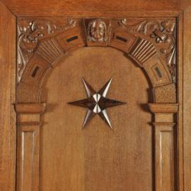 Antieke kasten / monumentale Hollandse 2-deurskast 2,49 hoog met sterren ca. 1870 (No.210860)