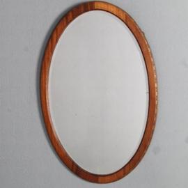 Antieke spiegels / Ovale facet geslepen spiegel in een lijst van mahonie ca. 1900 (No.501851)
