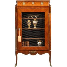 Antieke kasten / Feestelijk Frans Napoleon III boekenkastje van ca. 1860 met gaaspaneel (No.430613)