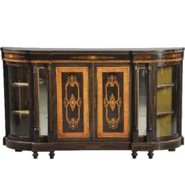 Antieke kasten / Victoriaanse credenza ca. 1875 noten,  ebbenhout,  zuilen met spiegels en 2 kwartronde vitrines (No.391354)