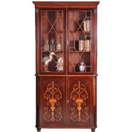 Antieke kasten / Hoge ondiepe antieke boekenkast / porseleinkast 2,26 X 0,31m. ! Engels ca. 1840  (No.562213)