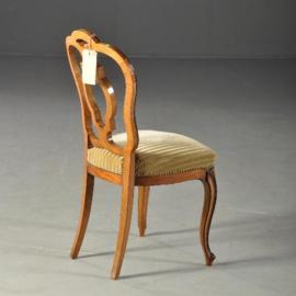 Antieke stoelen / Stel van 6 Hollandse Willem III stoelen ca. 1870 noten deels zwart.  (No-111954)