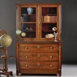 AAntieke kasten / Franse Empire commode ca. 1810 met opzet vitrine marmer blad (No.751610)