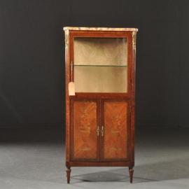 Antieke kasten / 3zijdige Vitrinekast met gesloten onderkast en marmer blad ca. 1910 (No.472845)