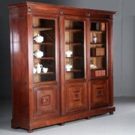 Antieke kasten / Monumentale Bibliotheekkast met 3 schuifdeuren ca. 1870 Hollands (No.582841)