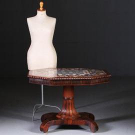 Antieke tafels / schaaktafel / centertable ca. 1840 met pietra dura blad op Palissander voet (No.640857)