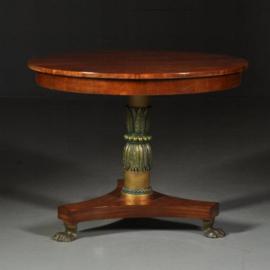 Antieke tafels / Kleine ronde mahonie empire eetkamertafel ca. 1820 deel gepolychromeerd  (No.472063)