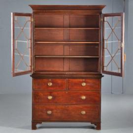 Antieke kasten / Mahonie boekenkast / servieskast ca. 1860 met 4 laden (No.401633)*