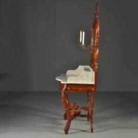 Antieke kaptafels / Markante hoge kaptafel / Wastafel met kandelaren Willem III ca. 1870 (No.390659)