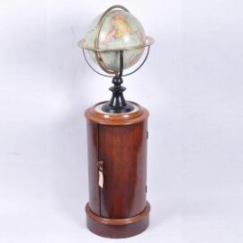 Antiek  bijzettafels / Cilindrisch nachtkastje of tóch een barmeubel ca. 1825 Mahonie (No.500705)