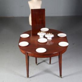 Antieke tafels / Hollandse mahonie Louis Sieze ca. 1800 coulissentafel eetkamertafel (No.562215)