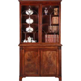 Antieke kasten / Engelse boekenkast 1840 in mahonie  en fijn inlegwerk (No. 641564)