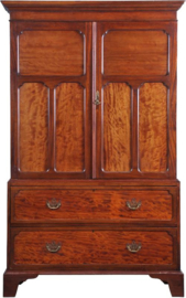 Antiek kasten / Strak mahonie kabinet ca. 1880 met 2 laden en gepaneelde deuren (No891922)
