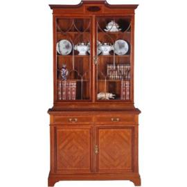 Antieke kasten / Zeer chique Engelse servieskast / boekenkast 1890 in mahonie met fraai inlegwerk (No.630951)