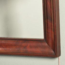Antieke spiegels / Strakke Hollandse biedermeier bloemmahonie spiegel ca. 1830  (No-101454)