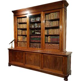Antieke kasten / Monumentale boekenkast 3 meter breed met 6 schuifdeuren ca. 1850 mahonie (No.340230)