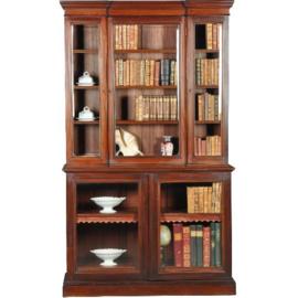 Antieke kasten / bibliotheekkast met 5 beglaasde deuren ca. 1900 mahonie (No.402554)