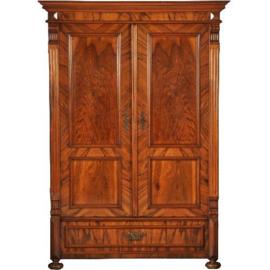 Antieke kasten / Strakke notenhouten 2-deurskast / servieskast ca. 1890 met lade. (No.393013)