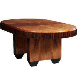 Antieke tafels / Palissander en coromandel art deco coulissentafel ca. 1915 met een tussenblad met ruimte voor extra bladen (No.640861)