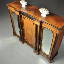 Antieke kasten / Victoriaanse credenza ca. 1885 in ebben- en notenhout en spiegelpanelen (No.470752)