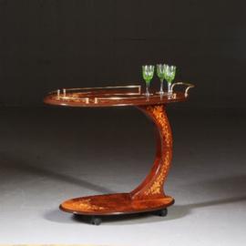 Antieke wijntafels / bijzettafels / Fraai ingelegde Bedtafel of sofatafel Italië 20e eeuw  (No.560665)