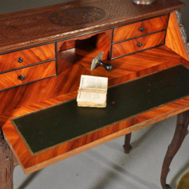"""Antieke bureaus / Secretaire met verstelbare stoel ca. 1875  gemerkt: """"gebr. Horrix"""" (No.332951)"""