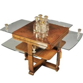 Antieke bijzettafels / Franse Art Deco salontafel notenhout met vier uittrekbladen van glas 1915 (No.490137)