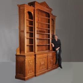 Antieke kasten / Reusachtige breakfront bibliotheekkast ca. 1870 hoogte 3,46 m (No-910741)