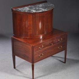 Antieke kasten / Strak en chique Frans bureau of drankenkabinet met marmer ca. 1810 (No.800223)