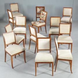 Antieke stoelen / stel van 14 strakke mahonie eetkamerstoelen stoelen ca. 1880 incl bekleding naar wens (No.411565)