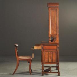 Antieke bureaus / Buro-bookcase in notenhout met zwarte accenten ca. 1890 (No.210859)