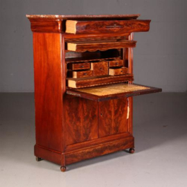 Antieke bureaus / Mahonie met palissander secretaire ca. 1840 met geheime vakjes en fraai leer (No541750)