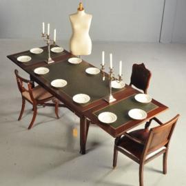 Antieke tafels / werktafel / eettafel  270 X 95 mahonie ca. 1910 met groen inleg  (No.370551)
