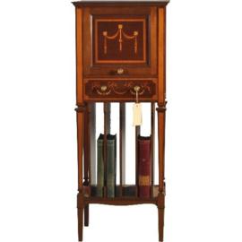 Antieke kasten / Smal en hoog muziekkastje uitbundig ingelegd en uitzonderlijk fraai van kwaliteit (No.290627)