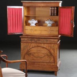 Antieke kasten / Franse Bonheur du jour met spiegelpanelen of bespanning of glas ca. 1830 mahonie en satijn (No.591033)