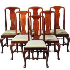 Antieke stoelen / 6 Solide Engelse mahonie eetkamerstoelen ca. 1920 met bekleding naar wens (No-123054