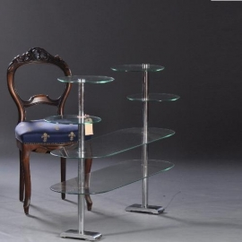 Antiek Varia / Art Deco toonbank etagere in glas voor verzameling of ontbijtbuffet ca. 1920 (No800924)