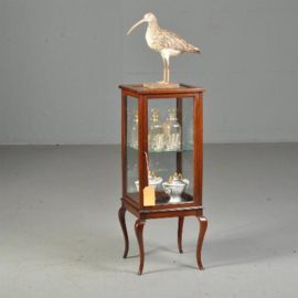 Antieke bijzettafels / Engels vierkant vitrinekastje ca. 1890 ingelegd met  biesjes (No.440319)