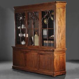 Antieke kasten / 6-deurs bibliotheekkast of servieskast ca. 1840 ook de binnen zijde uitzonderlijk fraai (No.312224)