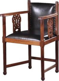 Antieke stoelen / stel van 2 Hollandse bureaustoelen / armstoelen ca. 1900 (No791223)