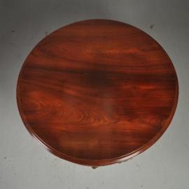 Antieke tafels / Ronde massief palissander eetkamertafel Tilttoptable 6 tot 8 personen ca. 1860 (No.521365)