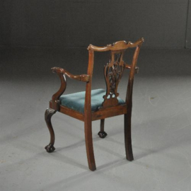 Antieke stoelen / Stel van 10 donkere mahonie eetkamerstoelen 2 met armleuningen ca. 1900 stoffering naar wens. (No.532124)