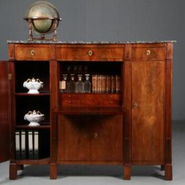 Antieke kasten / bureaus / brede Empire secretaire met zijkasten ca. 1810 in mahonie met marmer (No.602117)