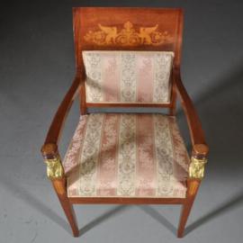 Antieke stoelen / stel van 2 Empire stijl armstoelen ca. 1930 in mahonie met brons (No.422059)