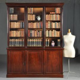 Antieke kasten / Statige strakke boekenkast met 6 deuren ca. 1850 mahonie (No.402562)