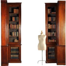 Antieke kasten / Stel van 2 hoekboekenkasten ca. 1870 geschikt voor een complete boekenwand (411712)